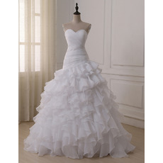 Elegant Sweetheart Floor Length Organza Layered Skirt Wedding Dresses