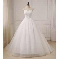 Simple Ball Gown Sweetheart Floor Length Tulle Wedding Dresses with Ruched Bodice