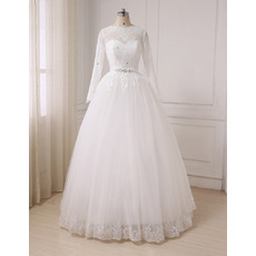 Discount Illusion Neckline Full Length Wedding Dresses with Long Sleeves