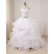 Romantic and Sophisticated Sweetheart Long Organza Wedding Dresses with Crystal Detailing and Breathtaking Layered Skirt