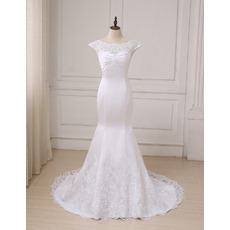 Delicate Lace Appliques Satin Wedding Dresses with Slight Cap Sleeves