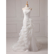 Fashionable A-Line One Shoulder Allover Ruched Full Length Organza Wedding Dresses with Exquisitely Layered Skirt