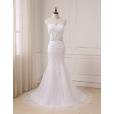 Feminine Illusion Sweetheart Neckline Trumpet Full Length Beading Wedding Dress with Dramatic V-back