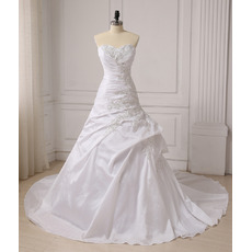 Gorgeous Feminine Beaded Sweetheart Neckline A-Line Sweetheart Chapel Train Ruching Taffeta Wedding Dresses