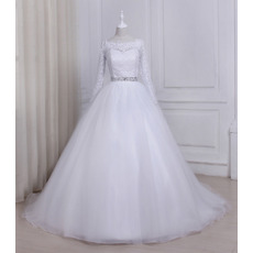 Discount Ball Gown Illusion Neckline Full Length Lace Tulle Wedding Dresses with Long Sleeves