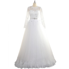Affordable A-Line Floor Length Tulle Wedding Dresses with Long Sleeves