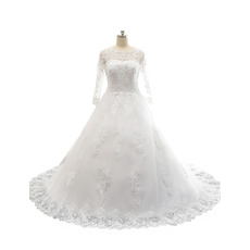 Custom A-Line Appliques Tulle Over Satin Wedding Dress with Long Sleeves