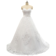 Discount A-Line Sweetheart Tulle Over Satin Wedding Dresses with Lace Appliques