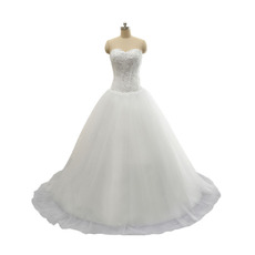 Discount Ball Gown Sweetheart Tulle Wedding Dresses with Beaded Appliques Bodice