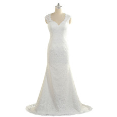 Attractive Simple Sheath Sweetheart Sleeveless Full Length Lace Wedding Dresses with Open Back