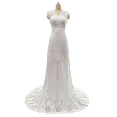 Elegant Sheath Double V-Neck Sleeveless Lace Wedding Dresses with Bow Detail