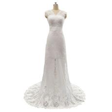 Elegant Sheath Double V-Neck Sleeveless Lace Wedding Dresses with Bow Detail