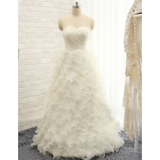 Dreamy and Alluring Sweetheart Floor Length Organza Wedding Dresses with Ruffles Galore Skirt