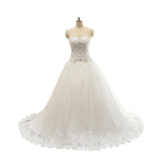 Custom Sweetheart Tulle Over Satin Wedding Dresses with Beaded Crystal Detail