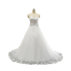 Discount Appliques Sweetheart Tulle Over Satin Wedding Dresses with Crystal Detail