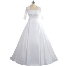 Perfect Square Neckline Floor Length Satin Wedding Dress with Half Sleeves