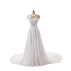 Elegant Sweetheart Long Lenth Chiffon Wedding Dresses with Straps