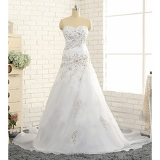 Shimmering Crystal Beading A-Line Sweetheart Organza Wedding Dresses