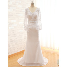 Graceful V-Neck Lace Appliques Chiffon Wedding Dresses with Long Sleeves