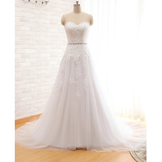 Dramatic Lace Appliques Sweetheart Tulle Wedding Dresses with Crystal Belt