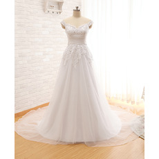 Elegance Off-The-Shoulder Organza Over Tulle Wedding Dresses with Beaded Appliques