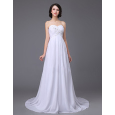 Affordable Beading Appliques Sweetheart Ruched Chiffon Beach Wedding Dresses