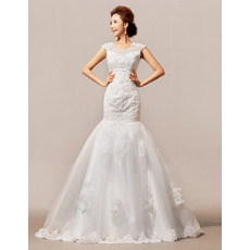 Gorgeous Crystal Beading Appliques Tulle Wedding Dresses with Trumpet Skirt