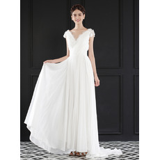 Romantic V-Neck Short Cap Sleeves Ruching Chiffon Beach Wedding Dresses with Dramatic Illusion Lace Back