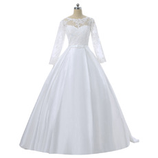 Feminine Illusion Sweetheart Neckline Ball Gown Floor Length Appliques Wedding Dresses with Long Tulle Sleeves