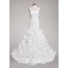 Romantic Criss-Cross Bodice and Waist Organza Wedding Dress with Ruffles Galore