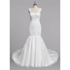 Classy Beaded Appliques Tulle Wedding Dresses with Trumpet Skirt