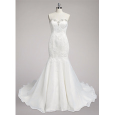 Fashionable Beaded Sweetheart Sweep Train Organza Wedding Dresses with Lace Appliques