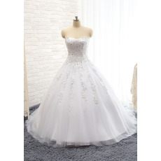 Gorgeous Crystal Beading Ball Gown Sweetheart Satin Tulle Wedding Dresses with Button