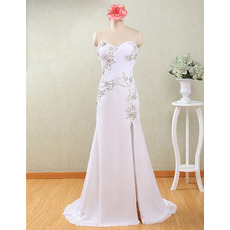 Delicate Beaded Rhinestone Column Sweetheart Chiffon Beach Wedding Dresses with Side Split