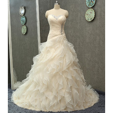 Breathtaking Crystal Beaded Sweetheart Organza Wedding Dresses with Tiered Ruffles Galore Skirt