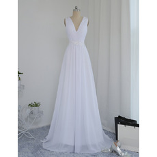 Dramatic Illusion Back Beading Appliques Ruched Chiffon Beach Wedding Dresses