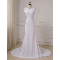 Plunging Scoop Back Satin Wedding Dresses with Slight Cap Sleeves