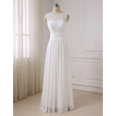 Vintage A-Line Sleeveless Floor Length Lace Chiffon Wedding Dresses