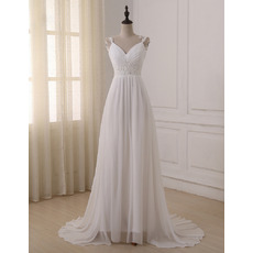 Exquisite Crystal Beading Straps Pleated Chiffon Beach Wedding Dresses