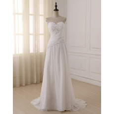 Crystal Beading Asymmetrical Ruched Ivory Chiffon Summer Wedding Dresses
