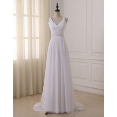 Inexpensive V-Neck Sleeveless Sweep Train Chiffon Wedding Dresses