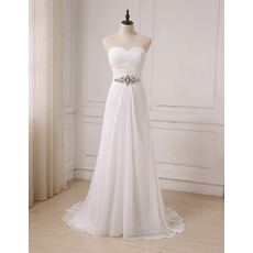 Elegant Sweetheart Ruched Bodice Chiffon Summer Wedding Dresses