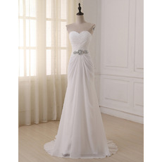 Discount Ruched Bodice Chiffon Beach Wedding Dresses with Rhinestone Waist