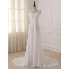 Elegance Beaded Appliques Bodice V-Neck Chiffon Beach Wedding Dresses with Cowl Back