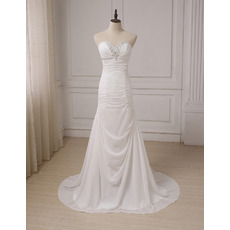 Glamorous Crystal Beading Sweetheart Chiffon Wedding Dresses wtih All Over Ruching