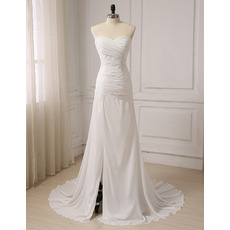 Elegant Asymmetrical Pleated Chiffon Beach Wedding Dress with Side Slit