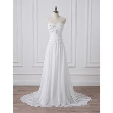 Summer Beach Ruched Chiffon Wedding Dresses with Crystal Appliques