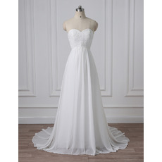 Simple Sweetheart Empire Pleated Chiffon Wedding Dresses with Lace Appliques Bodice