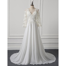 Attractive Long Sleeves Chiffon Wedding Dresses with Lace Appliques Bodice