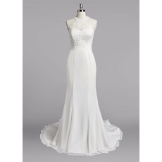 Delicate Sweep Train Summer Beach Chiffon Wedding Dresses with Lace Bodice